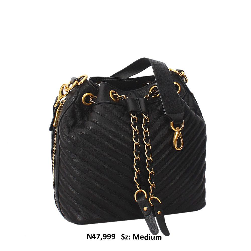 Black Felisa Leather Shoulder Handbag