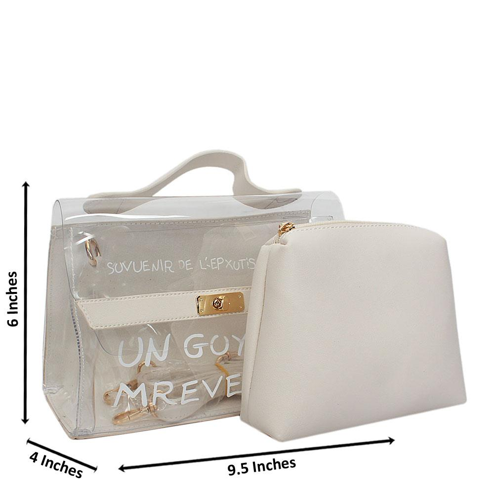 White Transparent Rubber Leather Small Top Handle Handbag