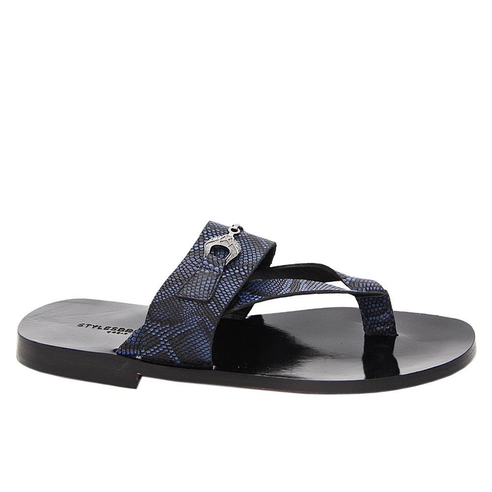 Navy Black Jean Italian Leather Slippers