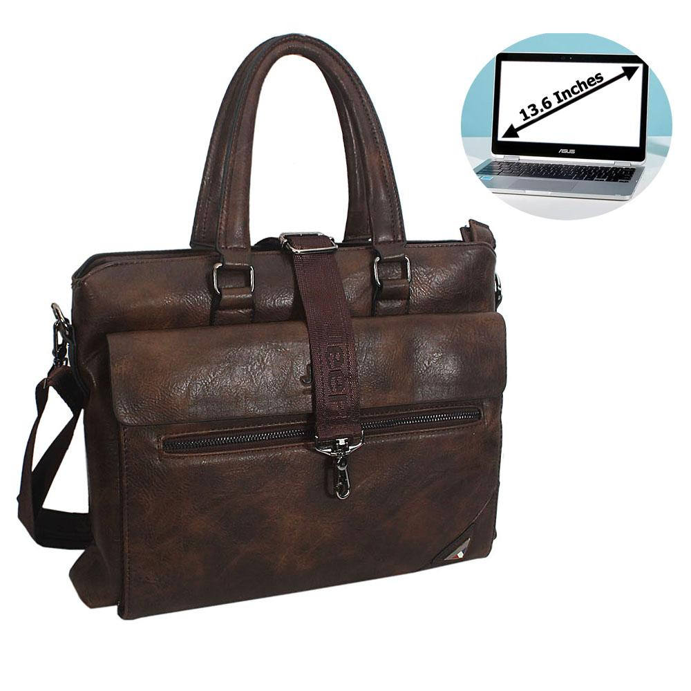 Coffee Elias Leather Single Flap Briefcase