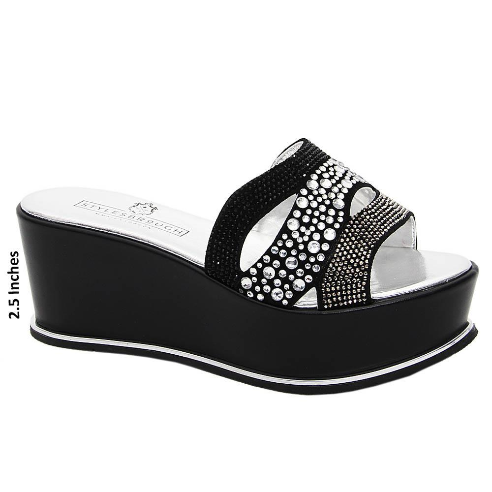 Black Lia Studded Italian Leather Wedge
