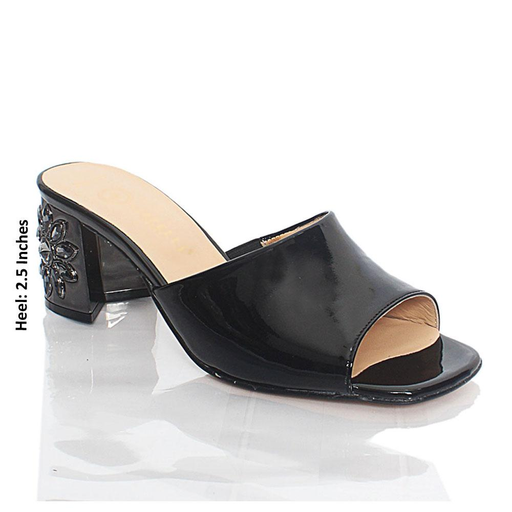 Black Luisa Patent Italian Leather Mule
