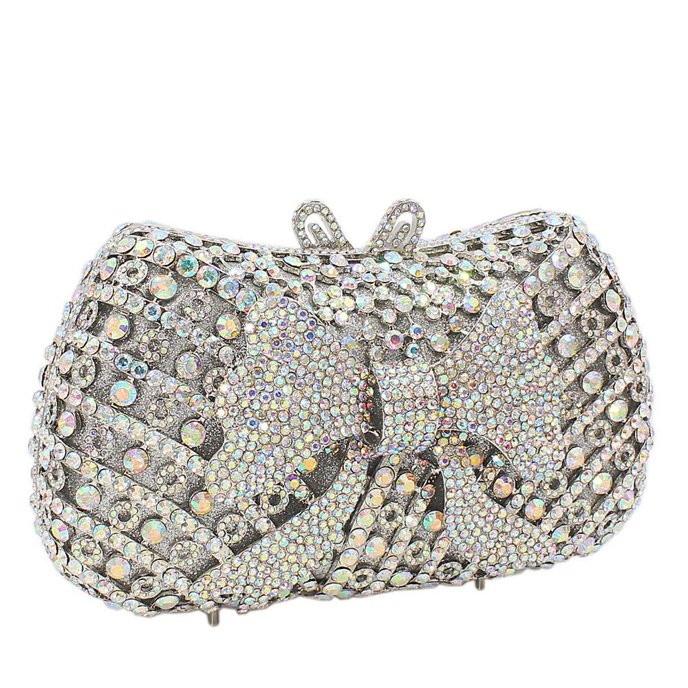 Silver Bow Diamante Crystals Clutch Purse