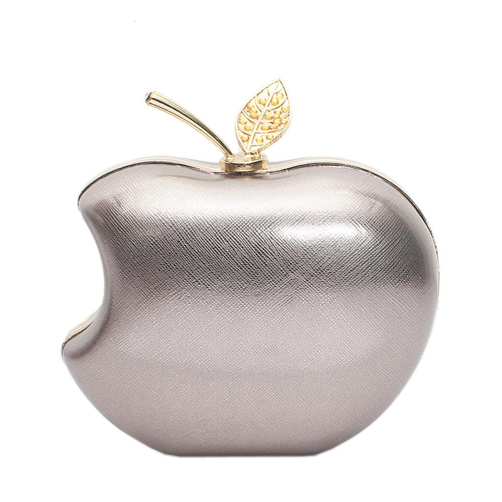 Metallic Gray Apple Style Hard Clutch Purse