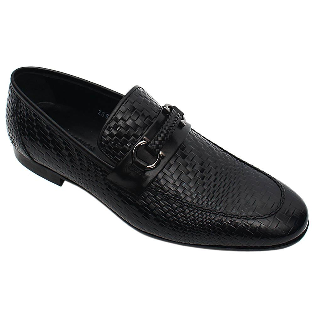Black Ottavio Woven Styled Italian Leather Men Horsebit Loafers