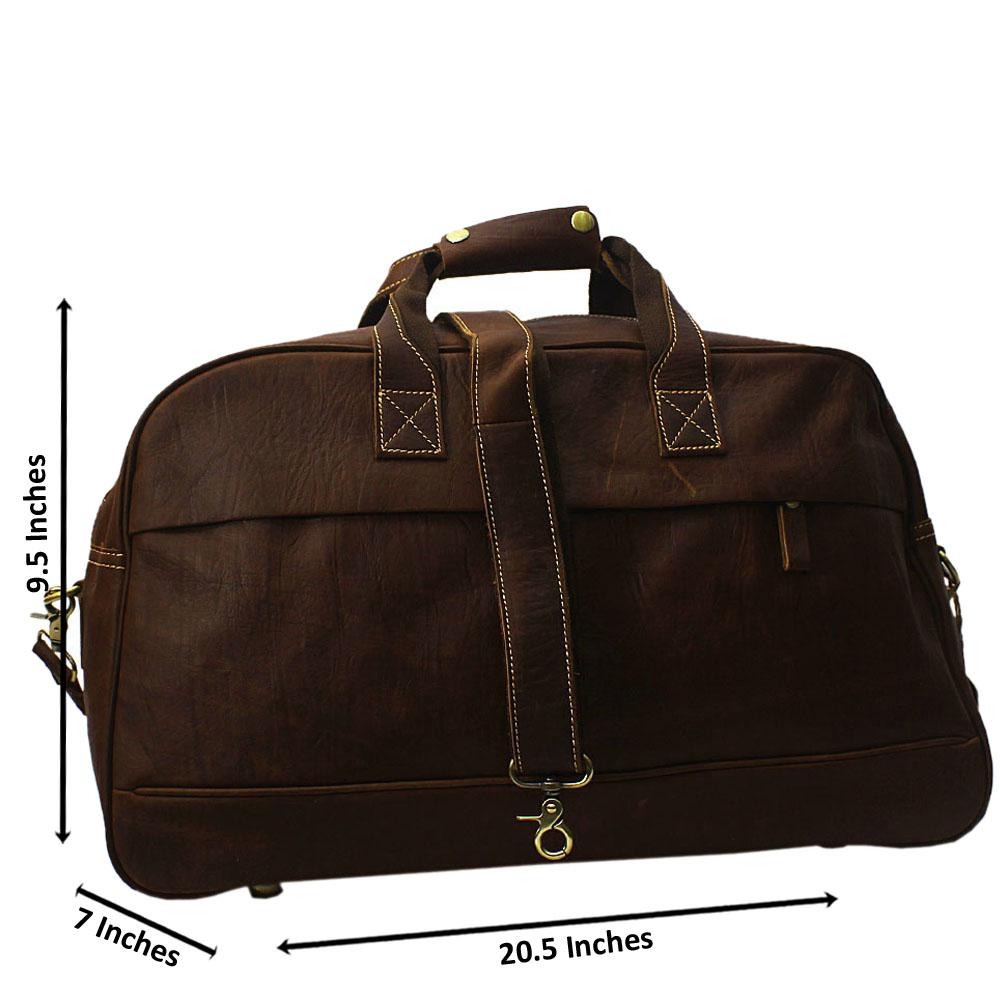Brown Cowhide Leather Duffel Bag