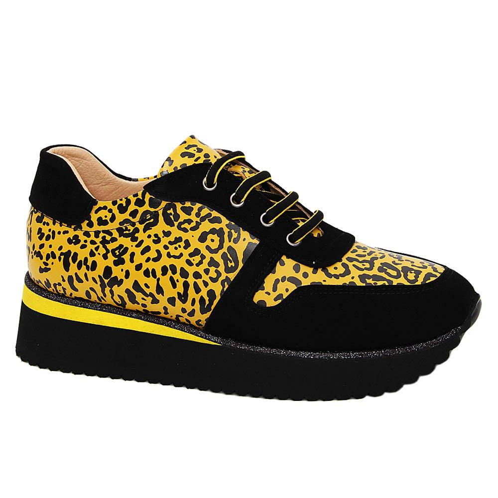 Black Yellow Ashley Tuscany Leather Ladies Sneakers