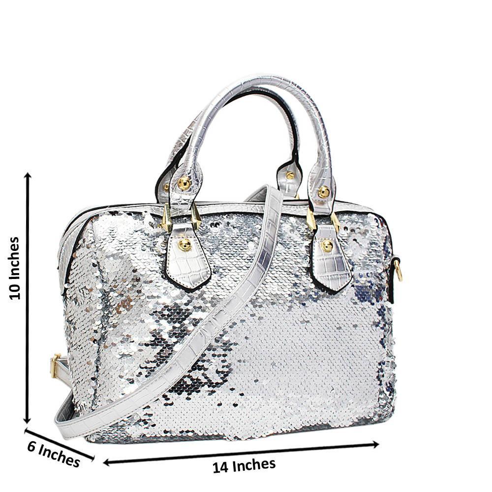 Silver Sequins Fabric Leather Medium Tote Handbag
