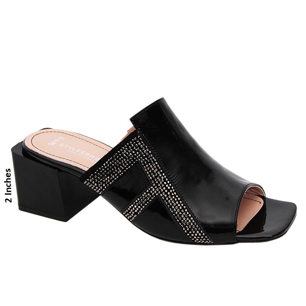 Black Carina Studded Patent Tuscany Leather Mid Heel Mule