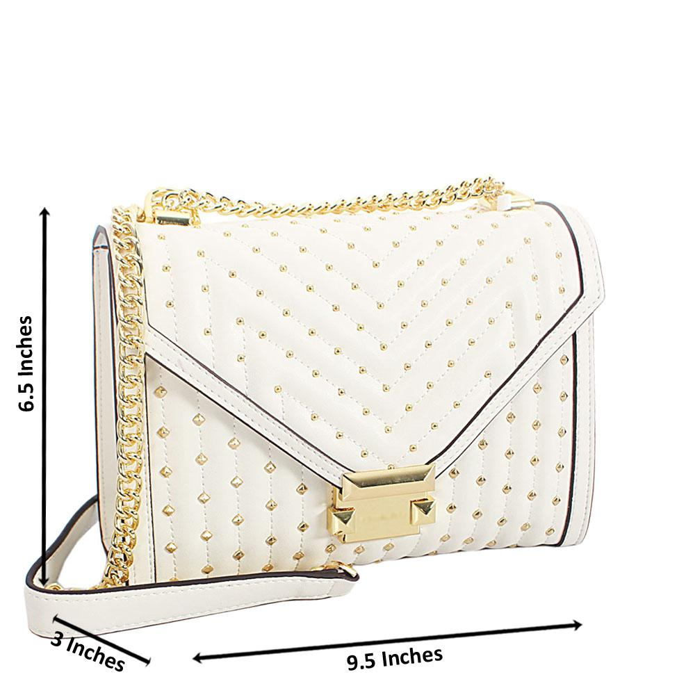 Cream Gold Studded Leather Chain Crossbody Handbag