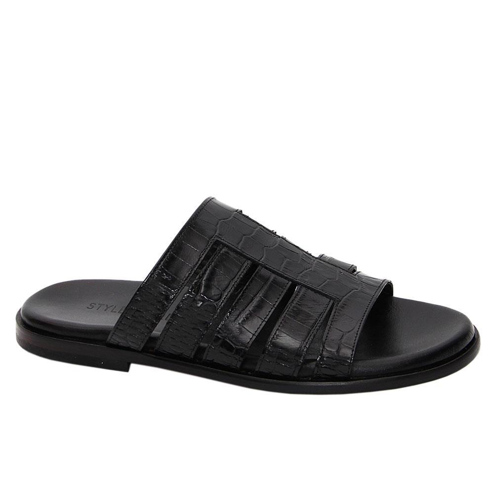Black Ermanno Italian Leather Slippers