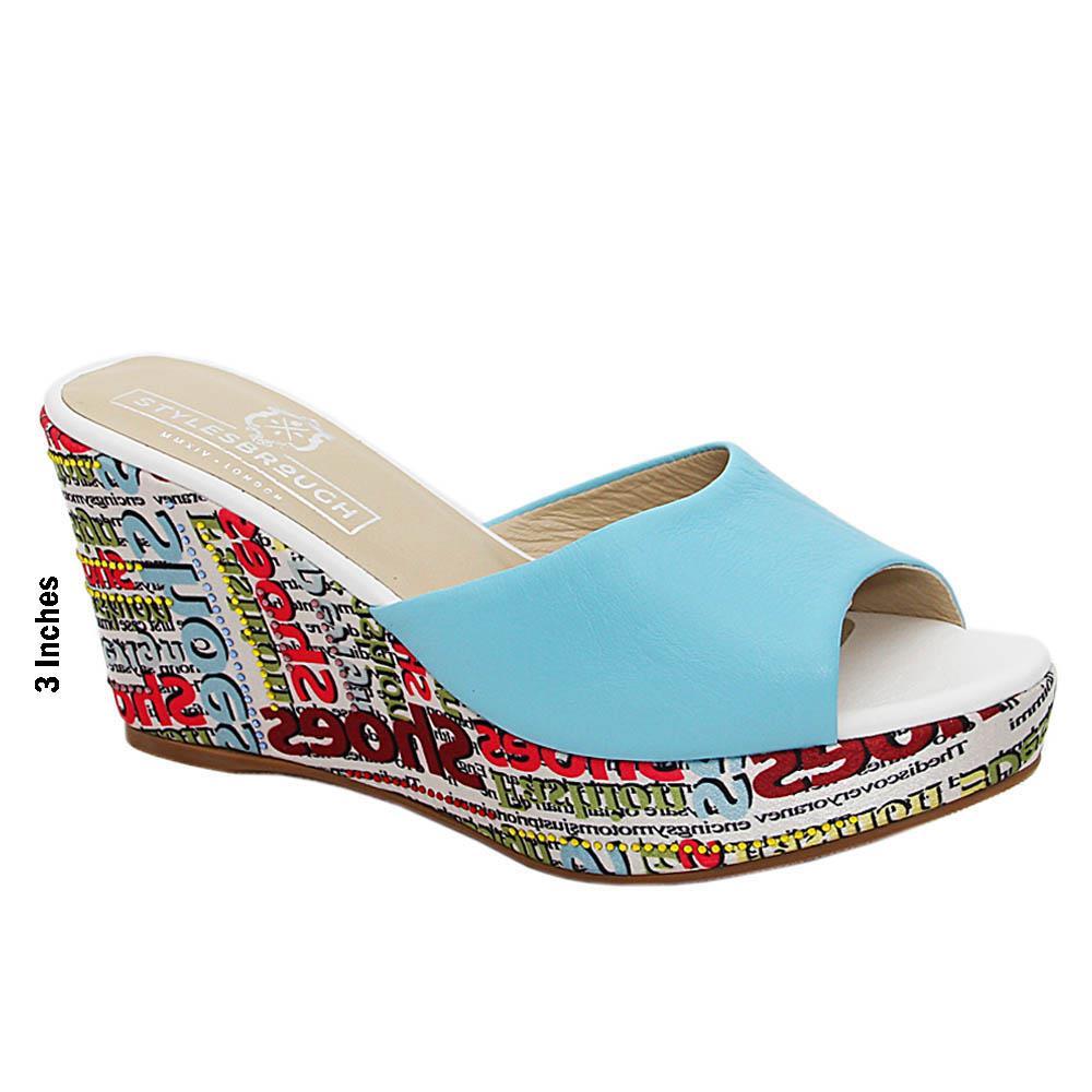 Blue Carina Studded Italian Leather Wedge Heel