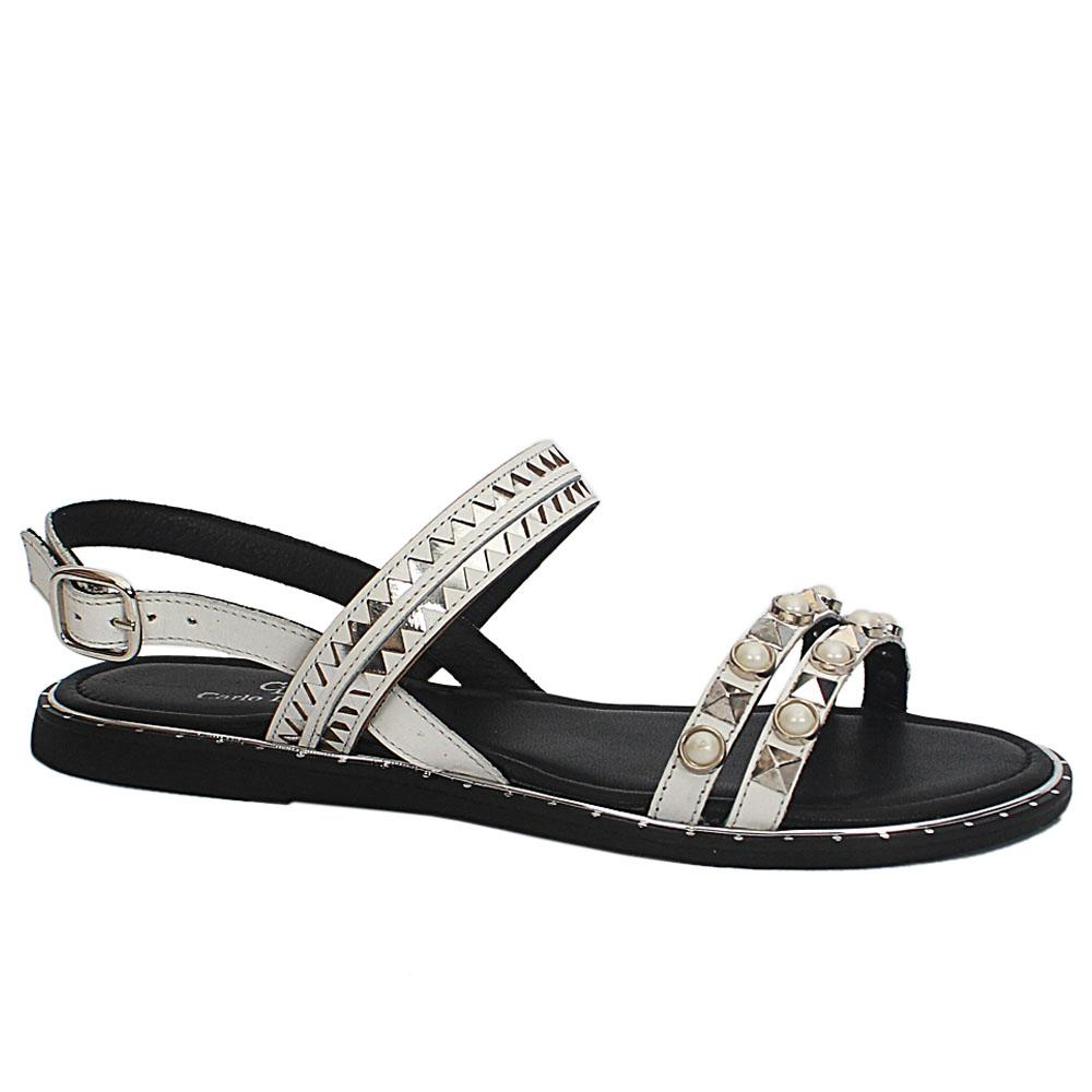 Carlo D White Roxanne Leather Sandals