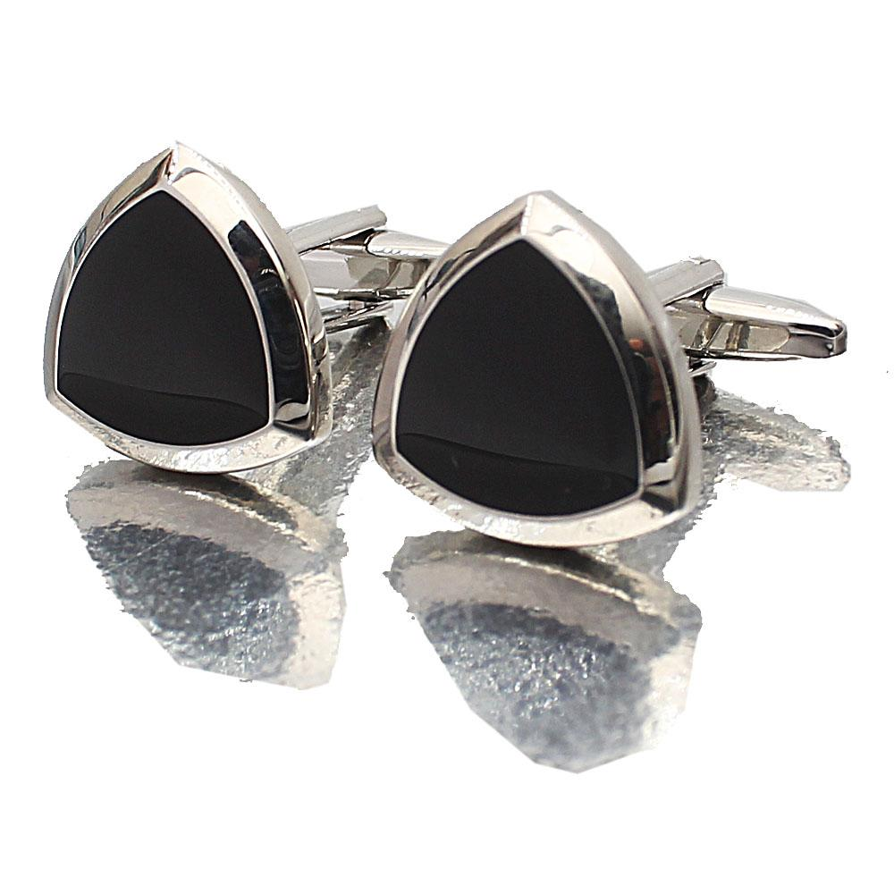 Silver Black Shield Stainless Steel Cufflinks
