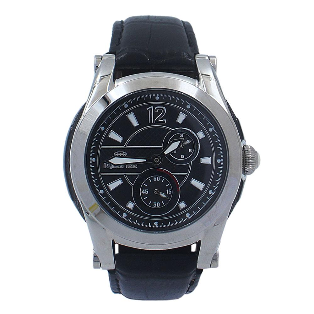 Black Silver Leather Chronograph Watch