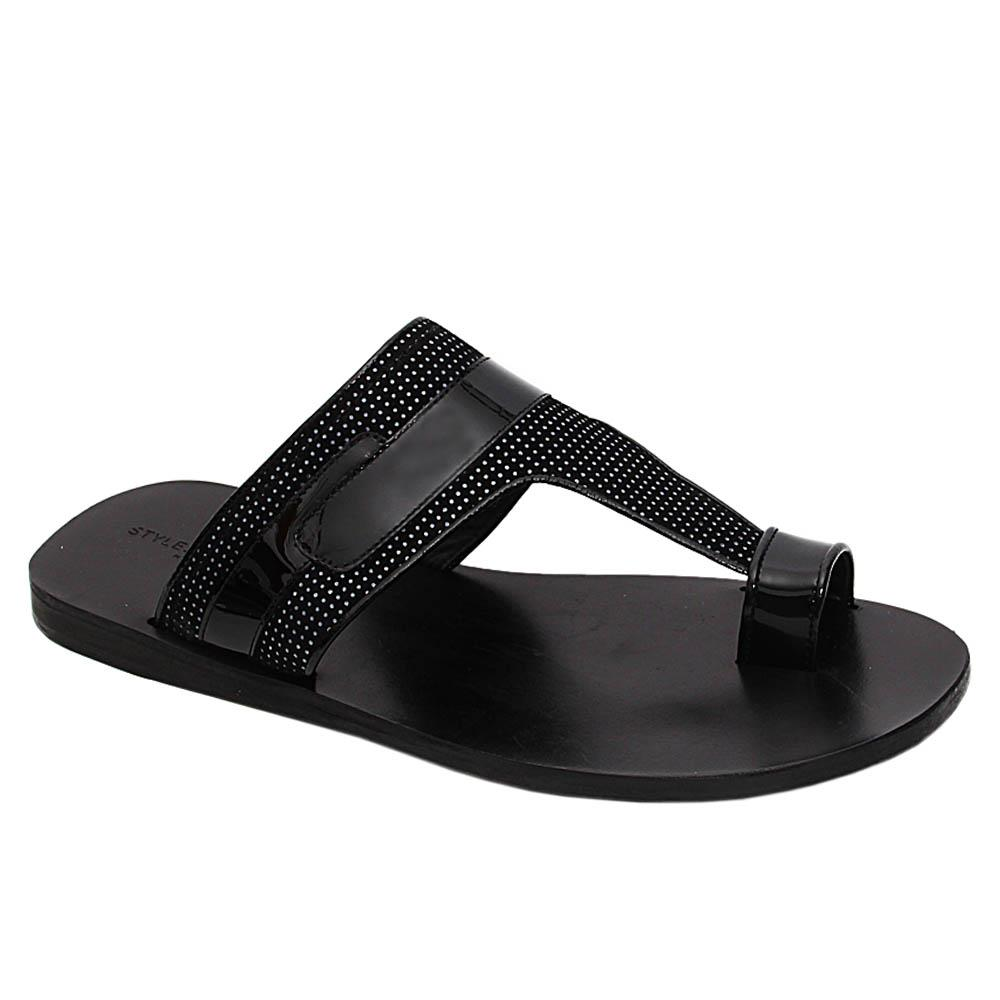 Black Alberto Italian Leather Slippers