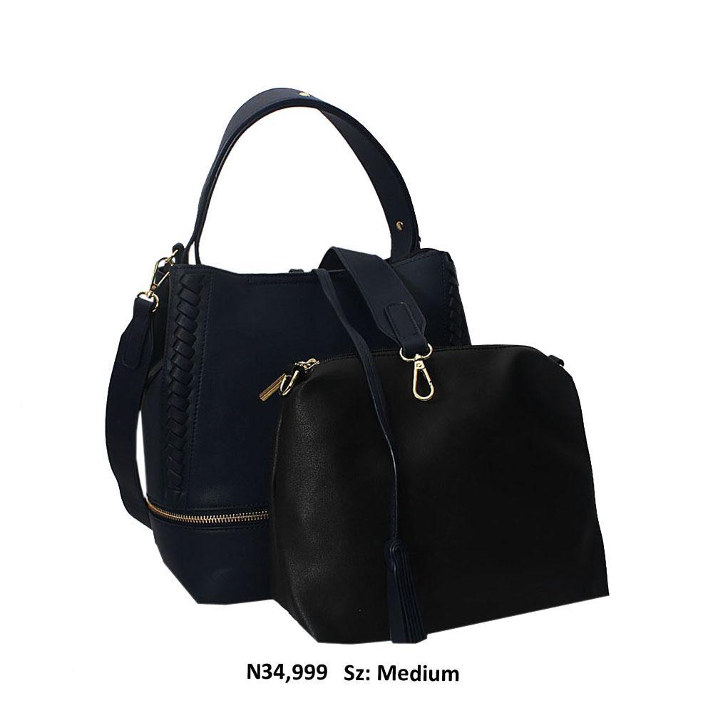 Navy Blue Aly Leather Shoulder Hangbag