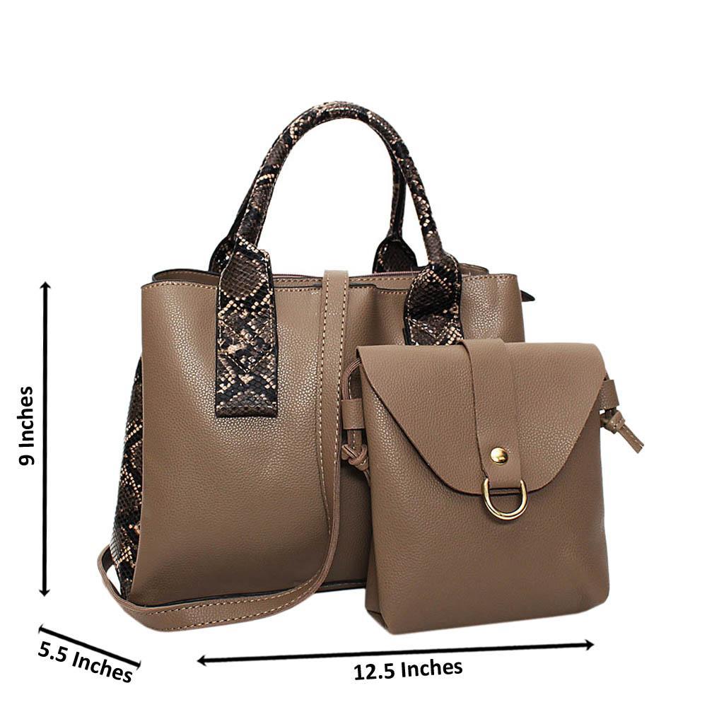 Khaki Mix Snake Skin Leather Medium 2 in 1 Tote Handbag