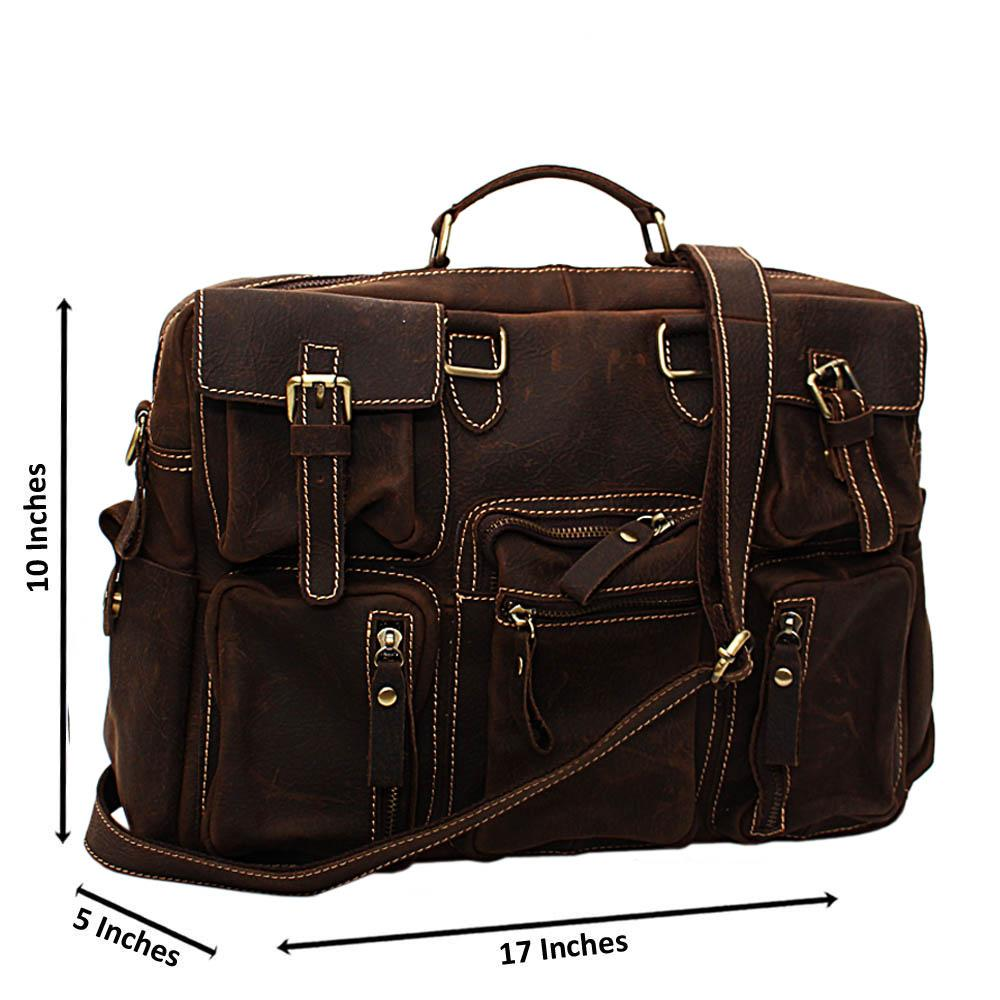 Distressed Brown Cowhide Leather Travel Bag