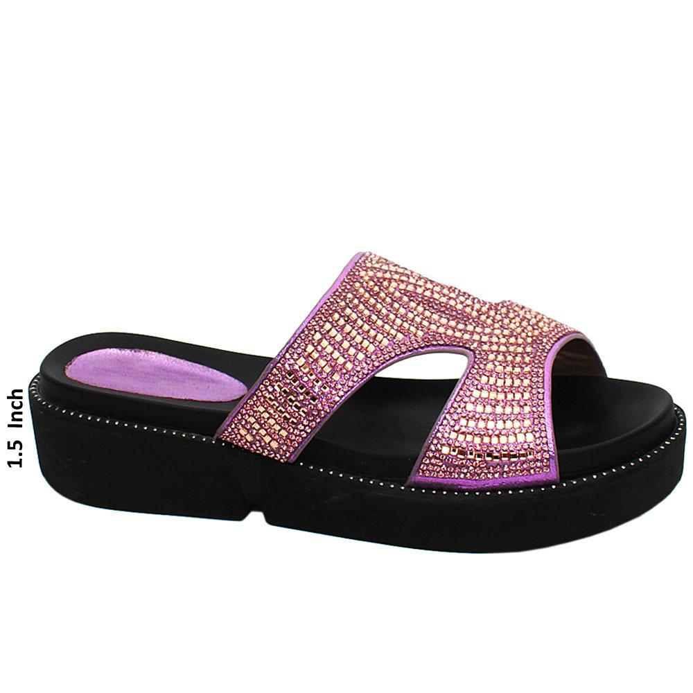 Lilac Mirah Studded Leather Wedge Heels