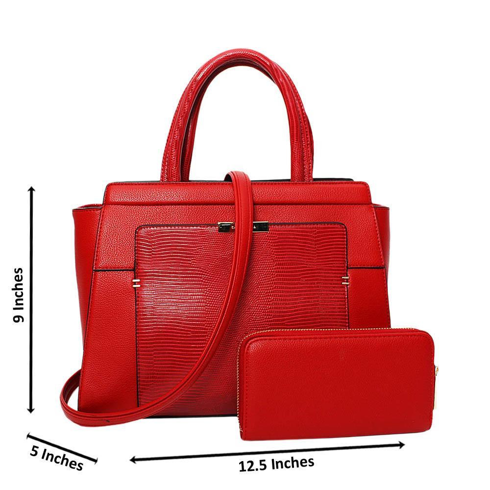 Red Kimberly Mix Leather Medium Tote Handbag