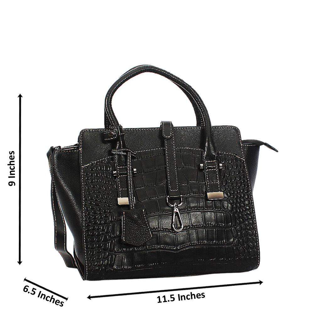 Raquel Black Croc Montana Leather Tote Handbag