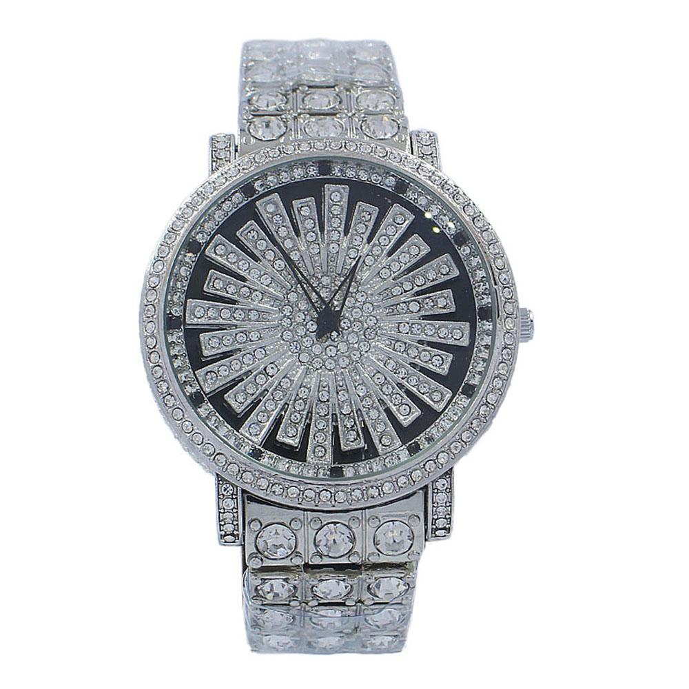 Rose Gold Crystals Studded Stainless Steel Spinners Watch