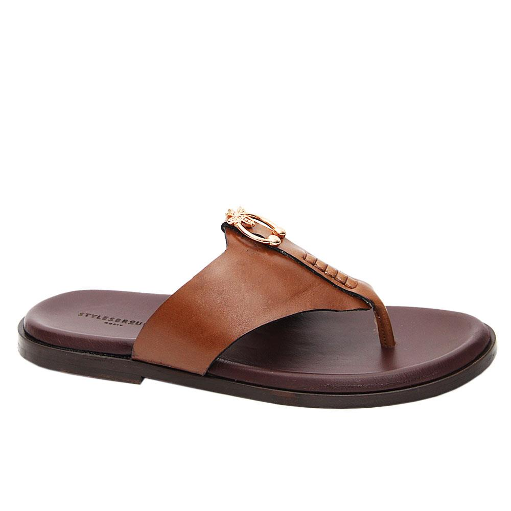 Brown Javier Italian Leather Slippers