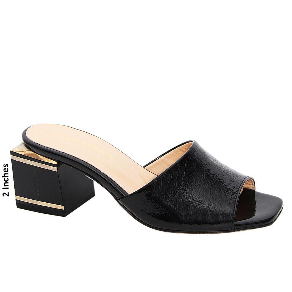Black Simona Patent Italian Leather Mid Heel Mule