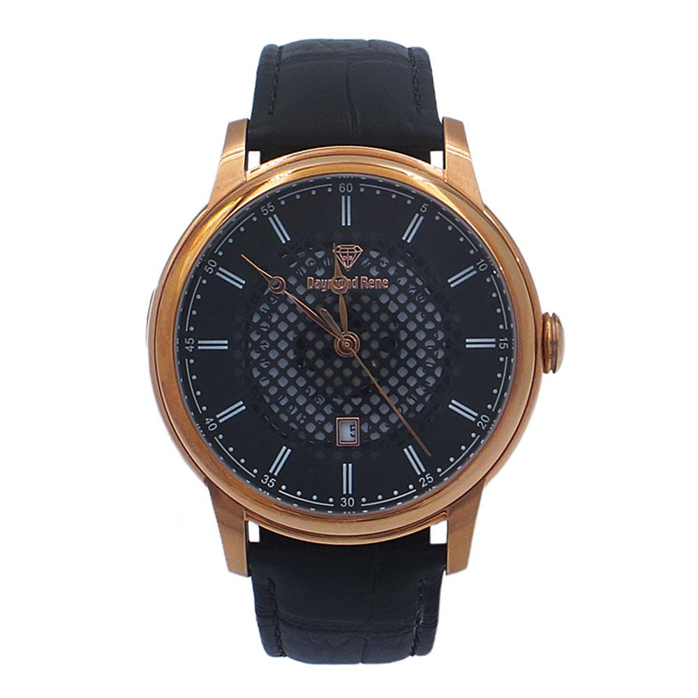 Black Rose Gold Leather Watch