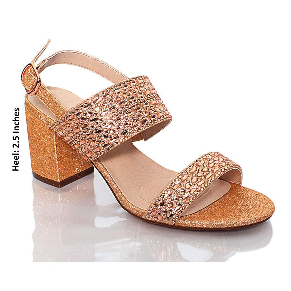 Rose Gold Crystal Studded Glitz Leather Heels