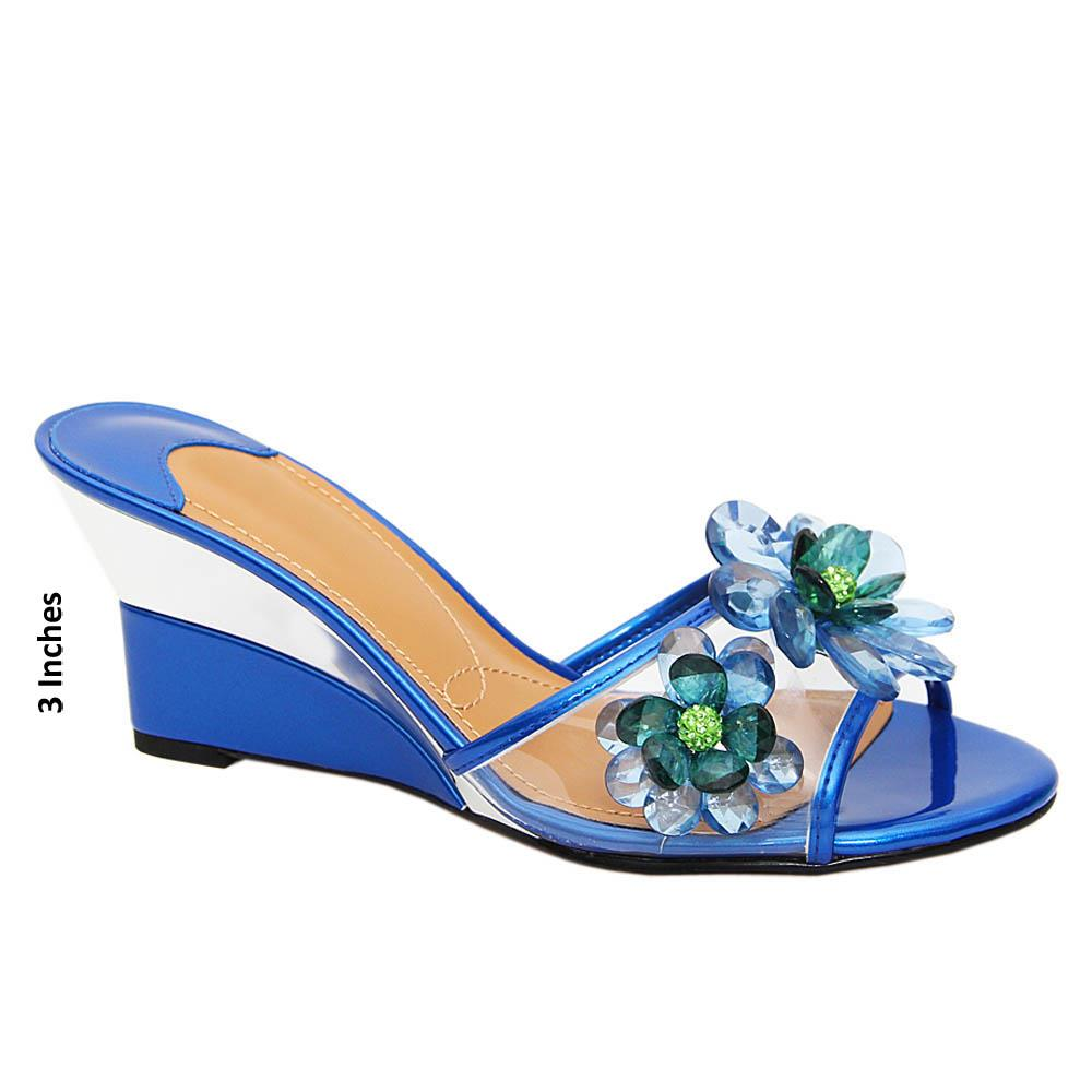 Blue Haley Pearl Transparent Wedge
