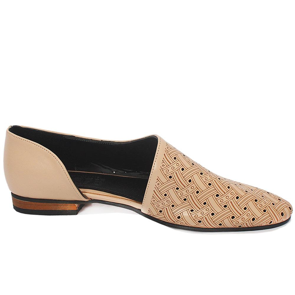 Beige Perforated Leather Ladies Flat Shoe