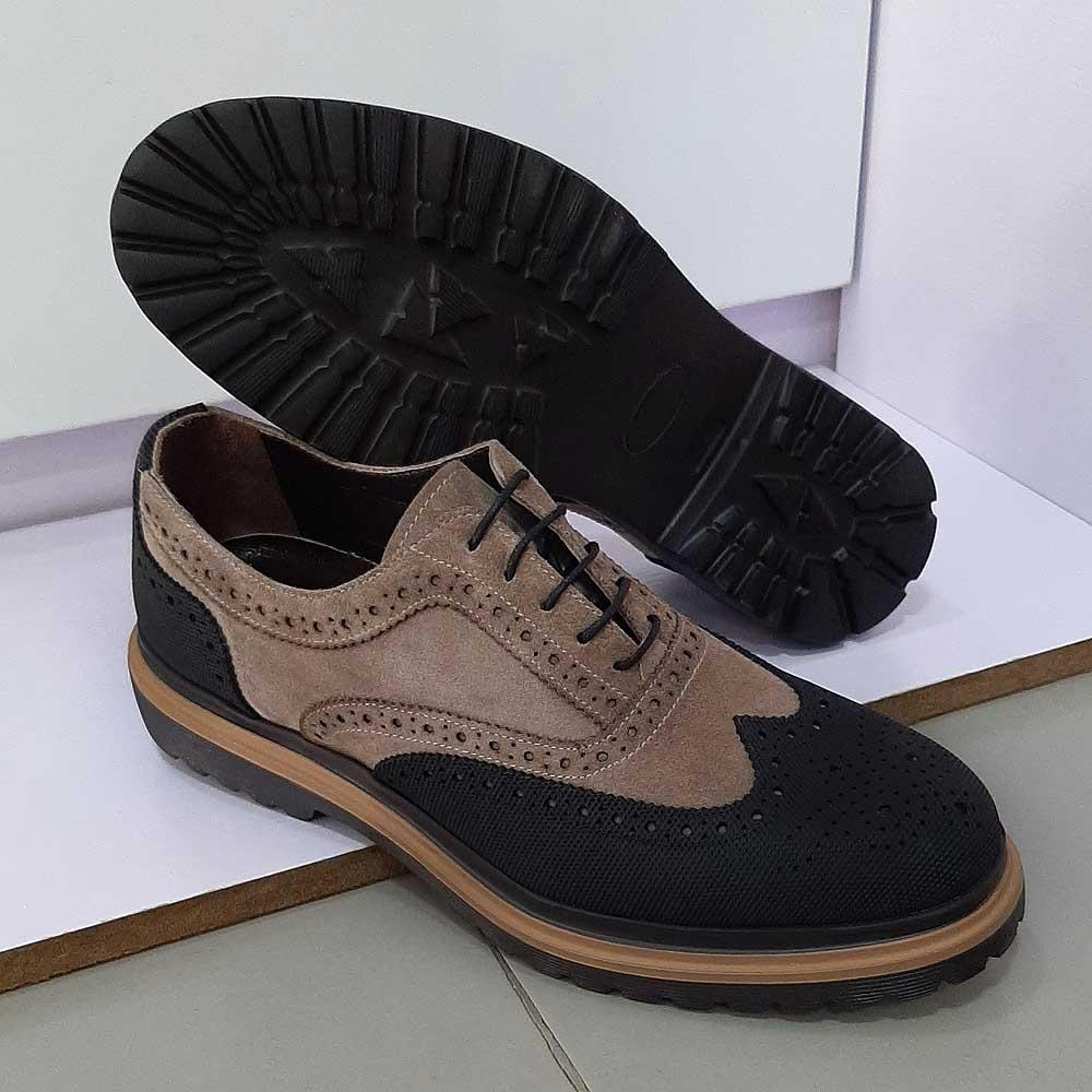 Khaki Black Deo Italian Men Brouge Oxford Shoe