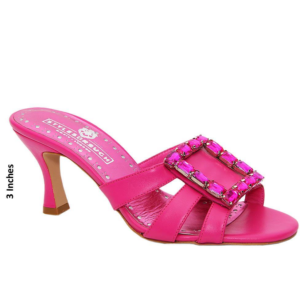 Pink Gemma Studded Italian Leather Mid Heel Mule