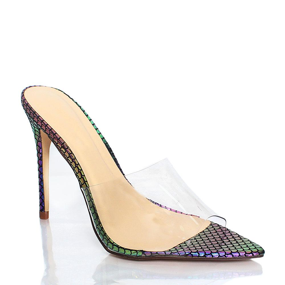 Multicolour Snake Skin AM Chi Rubber Top 4.2 Inch High Heel Slippers