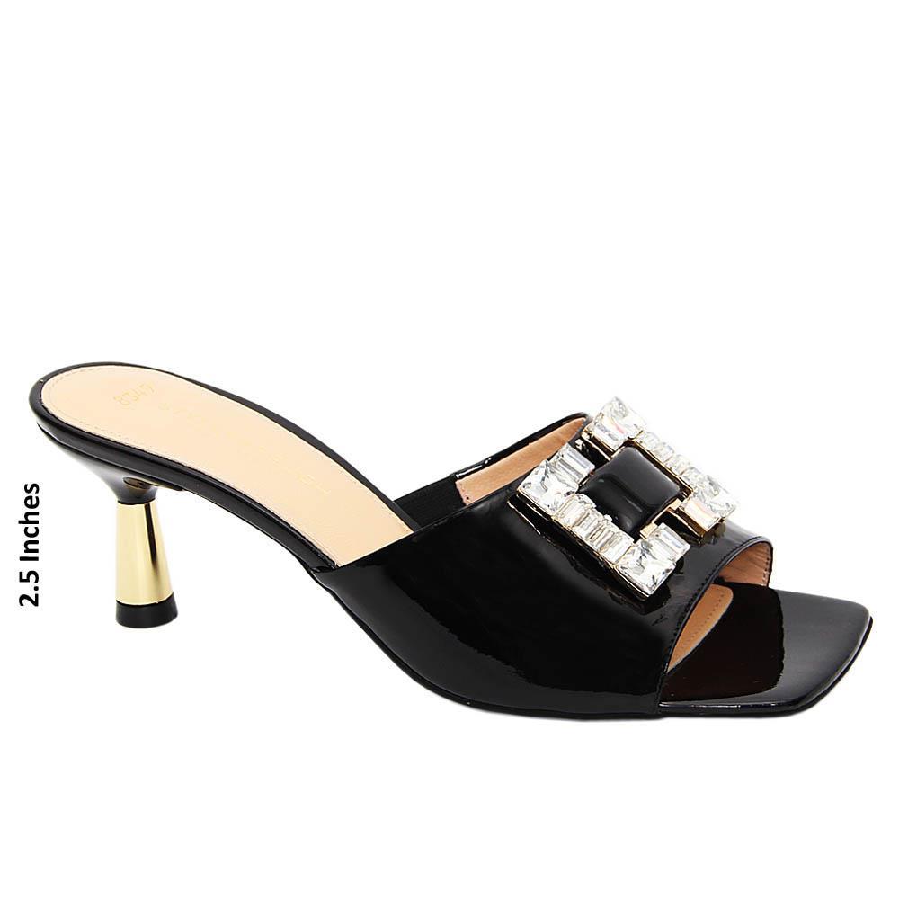 Black Crystals Patent Tuscany Leather Mid Heel Mule
