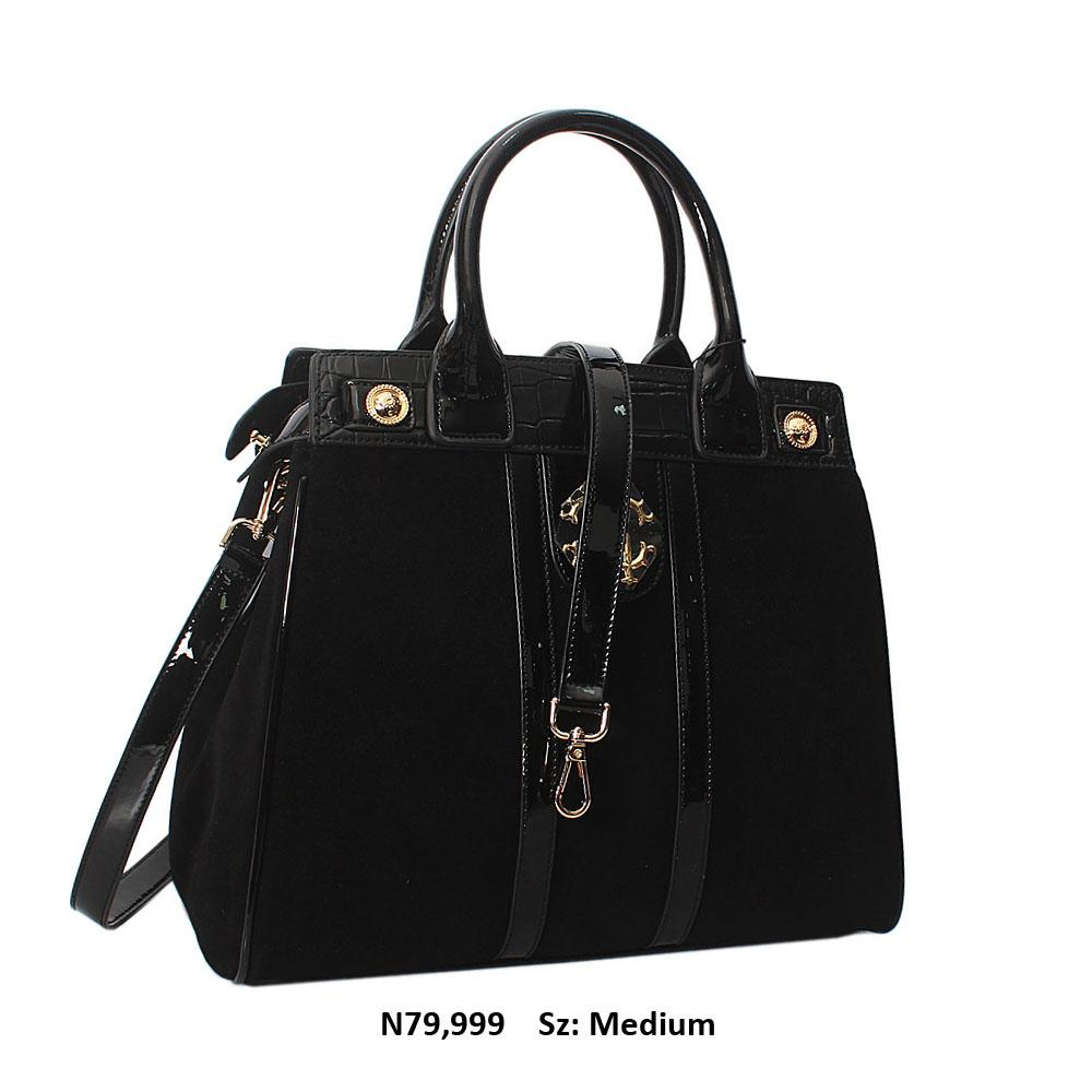 Mariella Black Suede Cowhide Leather Tote Handbag