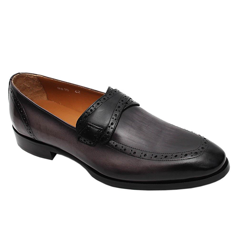 Grey Stefano Italian Leather Loafers
