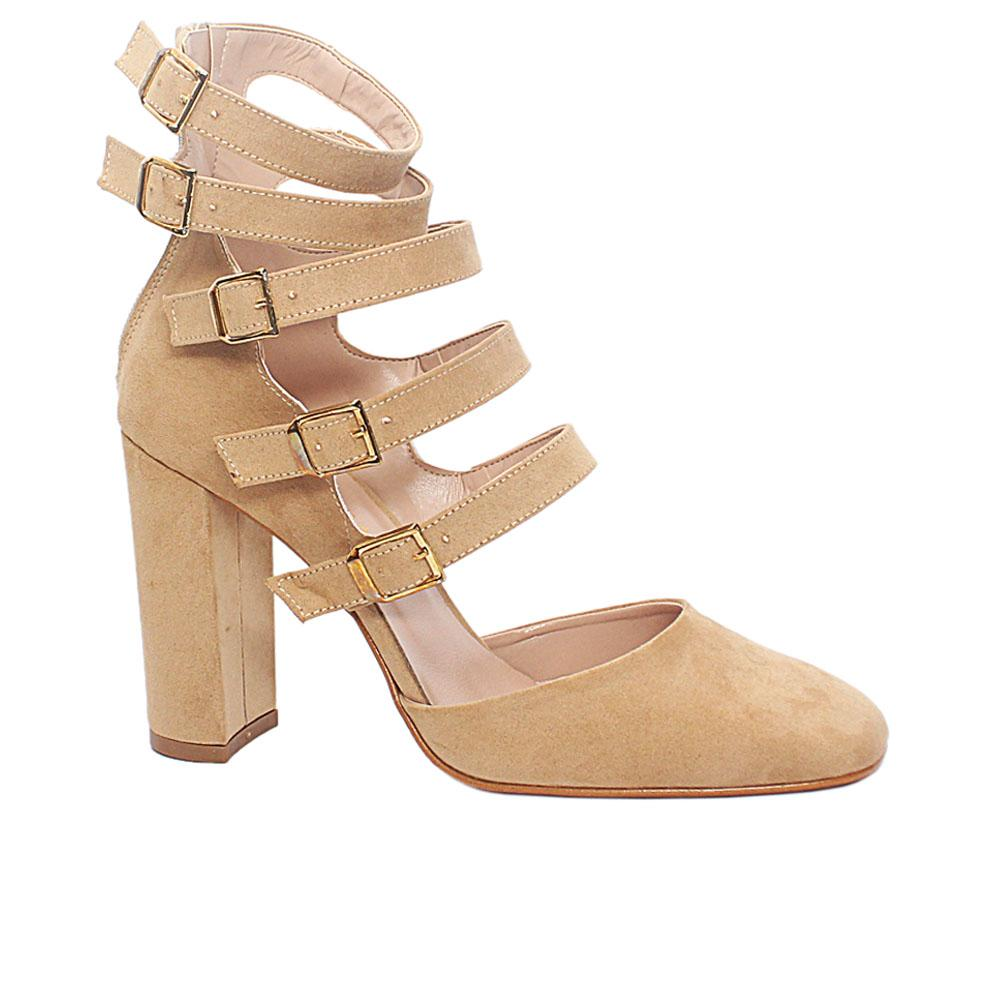 Beige Natasha Suede Leather Block Heel Ankle Strap Shoes