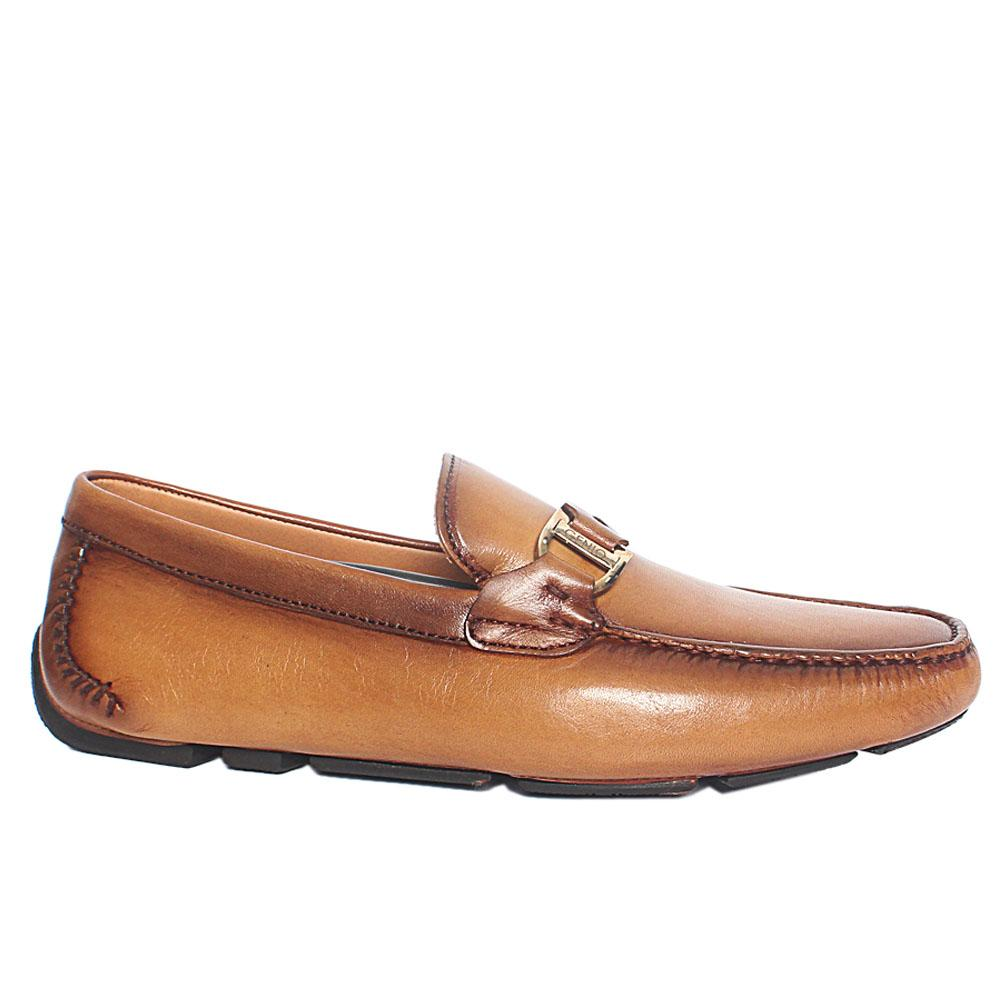 Caramel Brown Spiro Italian Leather Drivers Loafers