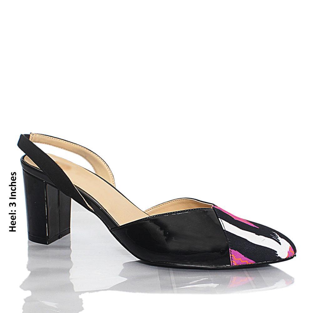 Black Fabric Patent Leather Heel