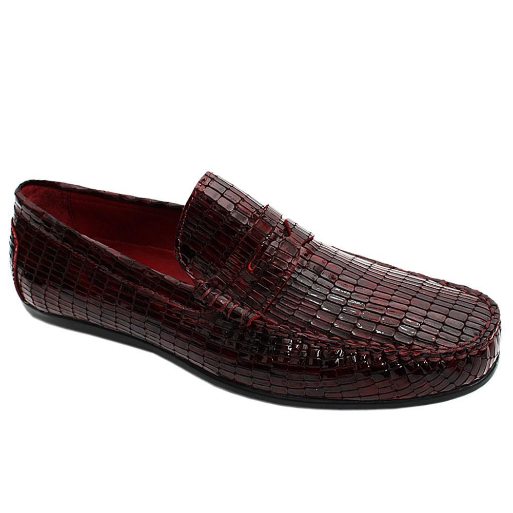 Wine Spinello Patent Italian Leather Men Drivers Shoe