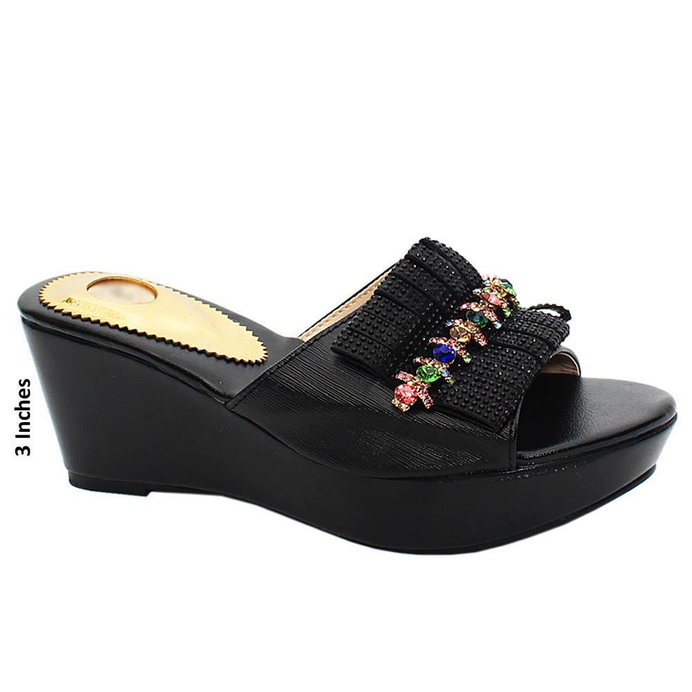 Black Annette Studded Leather Wedge Heels