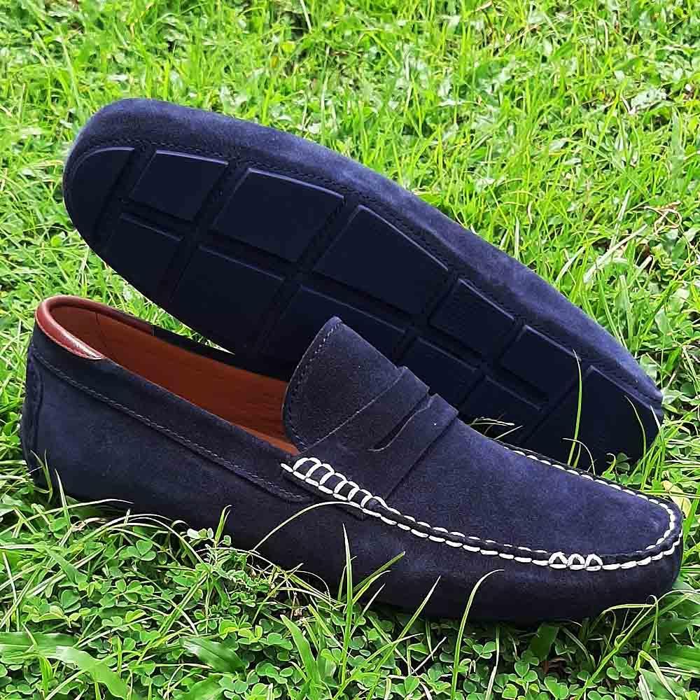 Navy Naldo Suede Italian Leather Men Drivers Shoes