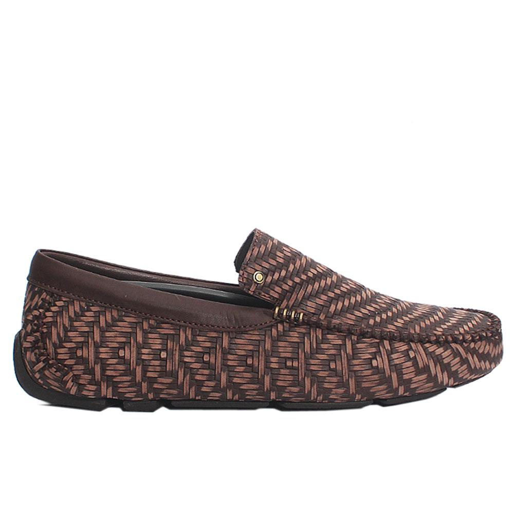 Coffee Antik Woven Styled Italian Leather Loafers
