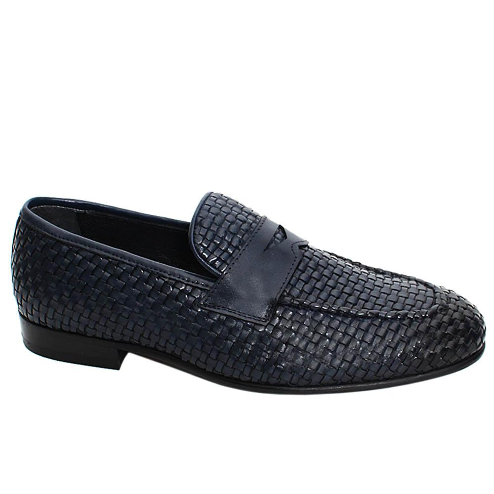 Navy Alfred Hand-Woven Leather Men Penny Loafers