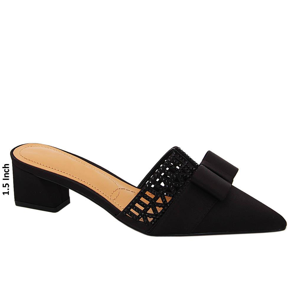Black Leah Studded Satin Leather Low Heel Pumps