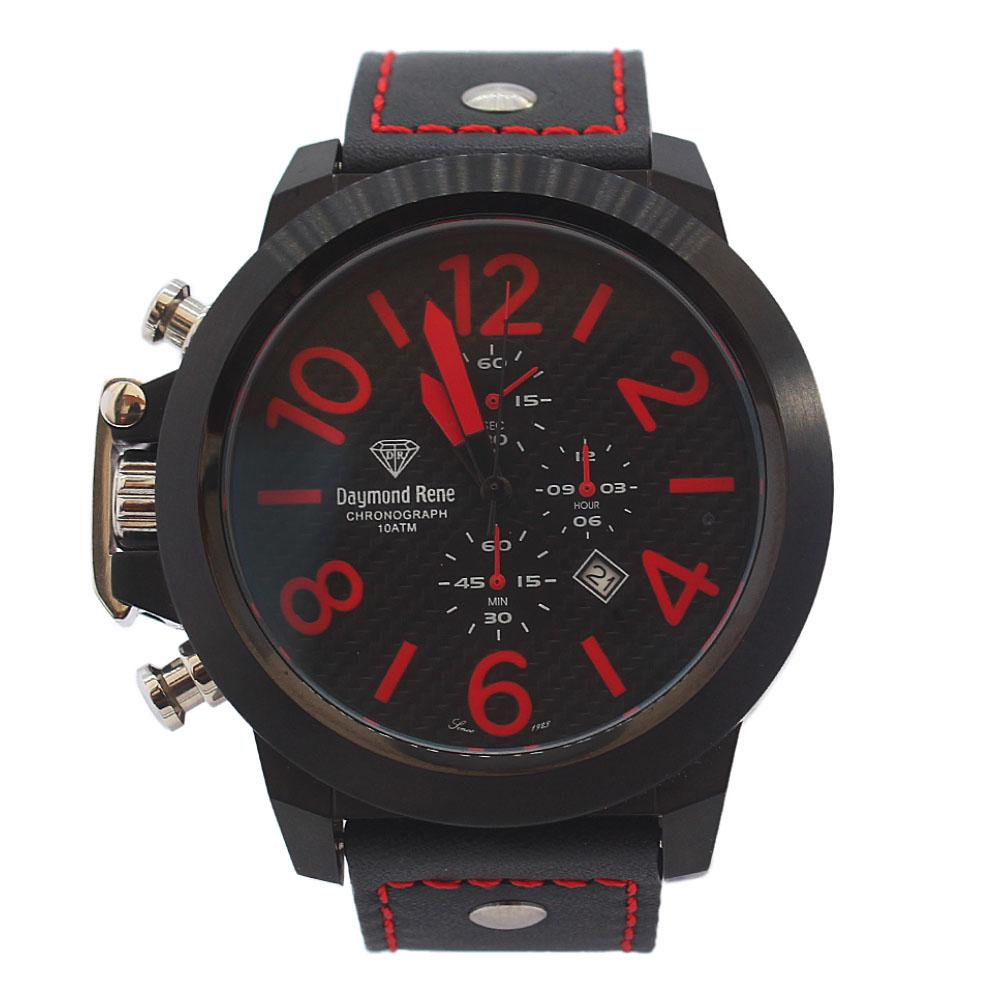 DR 10ATM Black Red Leather Bolt Chronograph Watch