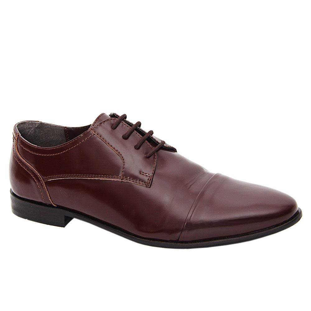 Wine Newry Leather Men Derby Shoes